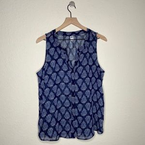 Old Navy Floral Button Down Sleeveless Blouse